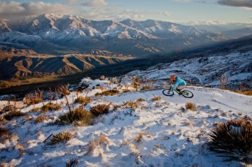 Camilla Stoddart's incredible Singletrack cover shot. Snowpark, NZ.